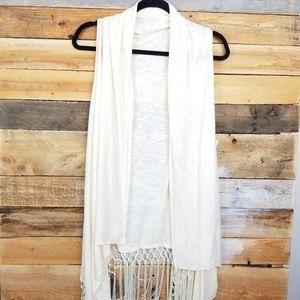 Tops - Cream Fringe Cover Up Vest